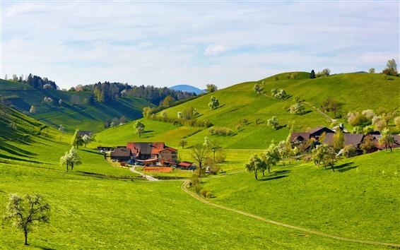 Wallpaper Mountains, hills, valley, grass, trees, house, farmstead