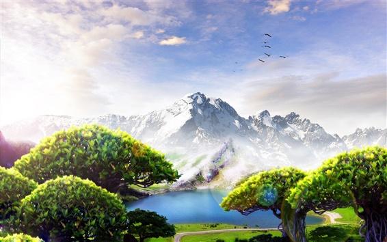 Wallpaper Mountains, trees, birds, clouds, lake, paradise