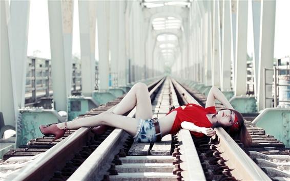 Wallpaper Red dress girl, asian, railroad, lying