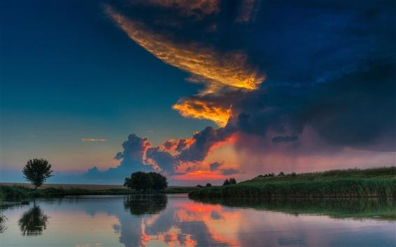 壁紙 川、雲、空、日没、木、草