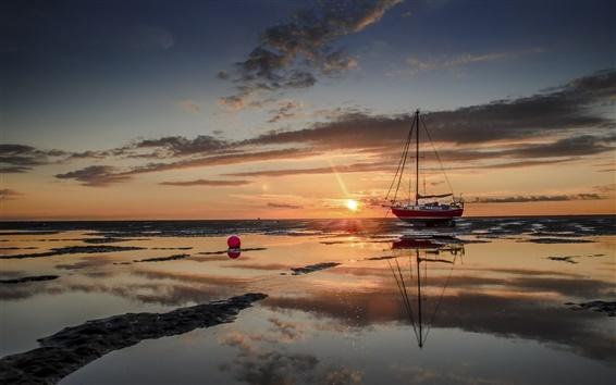 Fond d'écran Mer, bateau, coucher de soleil
