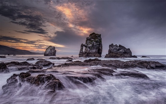 Papéis de Parede Mar, rochas, crepúsculo