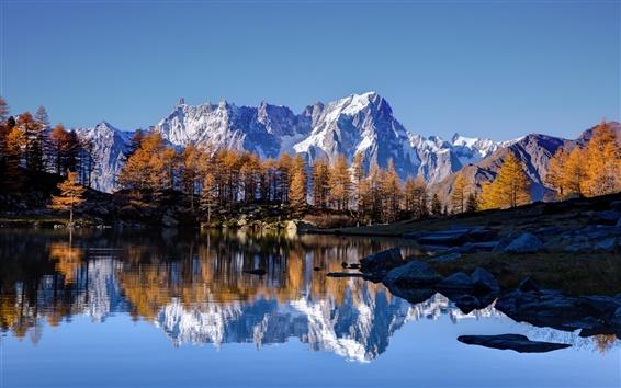 Wallpaper Sky, stone mountains, snow, lake, water reflection, trees, autumn