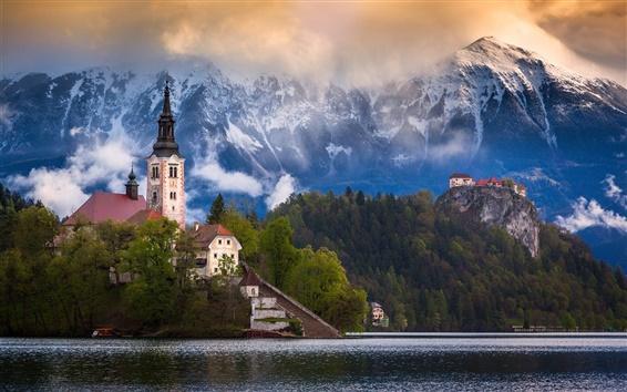 Обои Словения, озеро Блед, горы, Альпы, дома