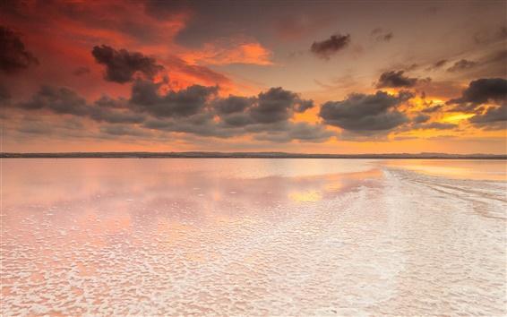 Wallpaper Spain, Valencia, salt lake, dawn, sky, clouds