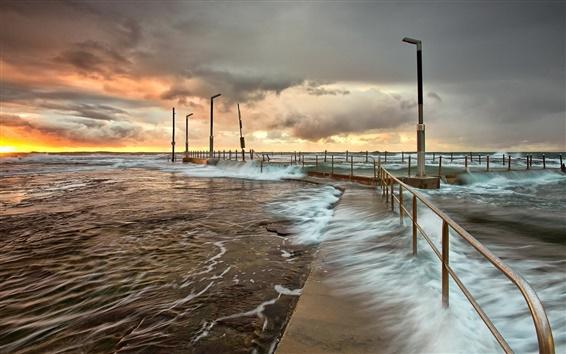 Wallpaper Sunset, sea, waves, dock