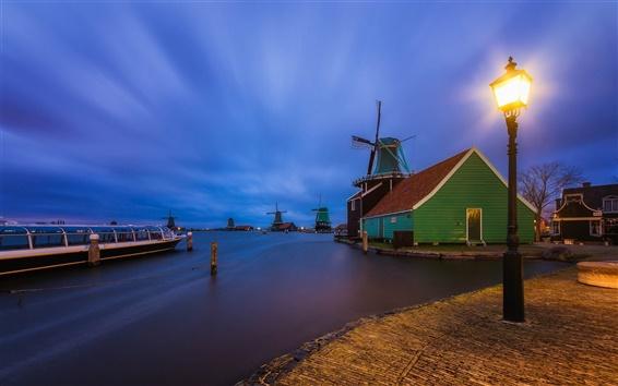 Wallpaper The Netherlands, village, houses, windmill, river, lights, night