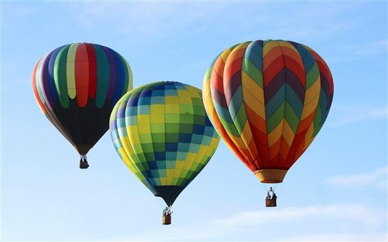 Wallpaper Three hot balloons, sky, sport