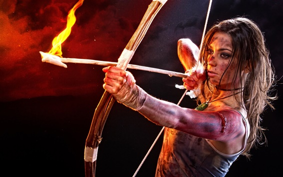 Wallpaper Tomb Raider, Lara Croft, cosplay, girl, bow, arrow, fire