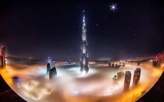 Wallpaper UAE, Dubai, Burj Khalifa, skyscrapers, night, fog, lights