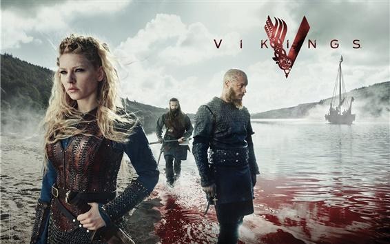 Fondos de pantalla Vikingos, series de televisión, fiordo, sangre