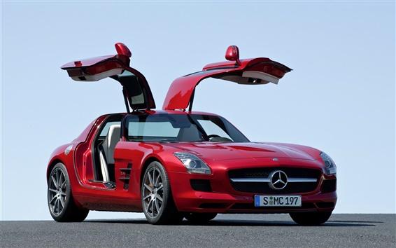Обои 2 014 Mercedes-Benz SLS 63 AMG красный автомобиль
