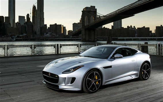 Обои 2015 Jaguar F-Type R серебристый автомобиль