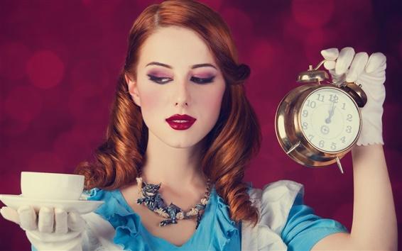 Papéis de Parede Alice no País das Maravilhas, lábios vermelhos, vestido azul