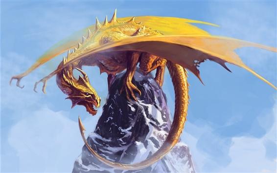 Fond d'écran Peinture d'art, dragon, montagne, neige