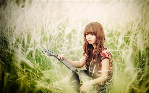 Wallpaper Asian girl, guitar, music, grass