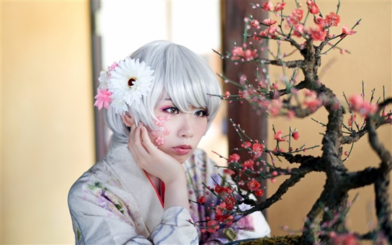 Wallpaper Asian girl, white hair
