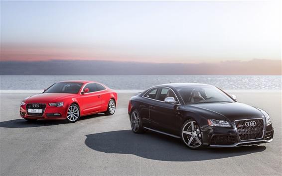 壁紙 アウディRS5、A5、赤、黒の車