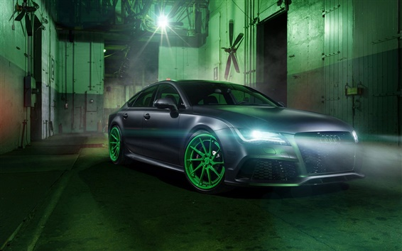 Wallpaper Audi RS7 car, headlights, night