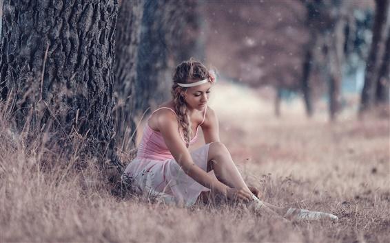 Wallpaper Ballerina, pointe shoes, skirt, girl, tree