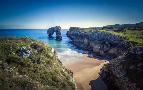 Wallpaper Beach, ocean, coast, sea, rocks