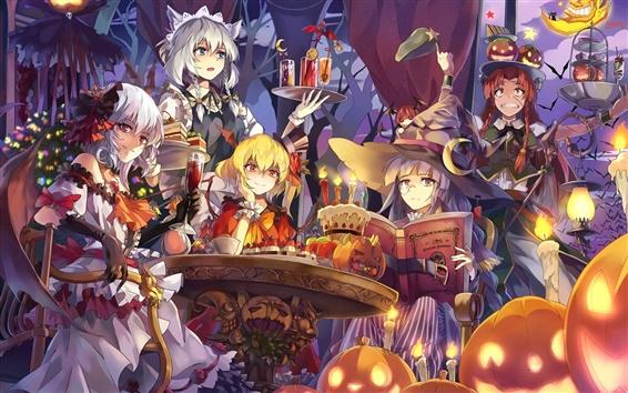 Wallpaper Beautiful anime girls, halloween