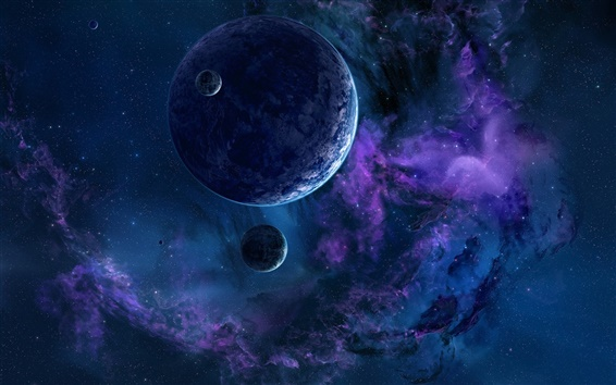 Wallpaper Beautiful space, planet, blue style, stars