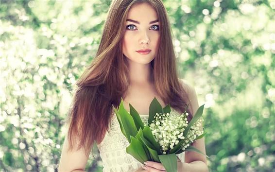Hintergrundbilder Schönes junges Mädchen, Portrait, Strauß Lilien