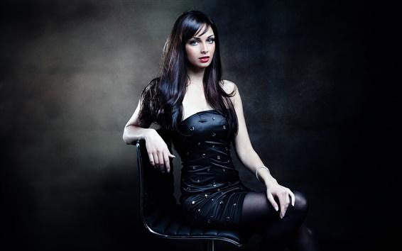 Wallpaper Black hair girl, posture, sitting on chair