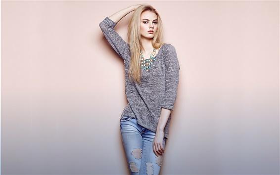 Fond d'écran Jeune fille blonde, de la mode, robe grise