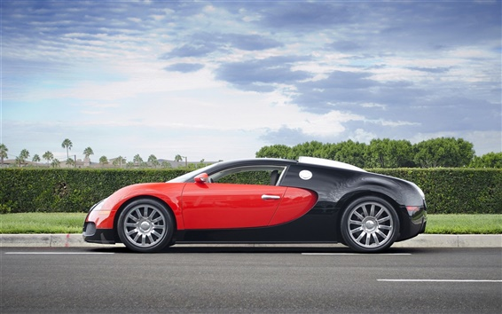 Fondos de pantalla Superdeportivo Bugatti Veyron, rojo, negro