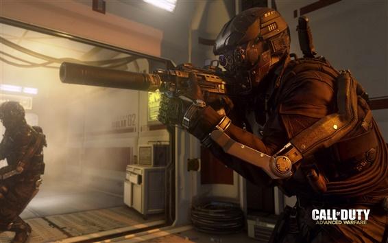 Fondos de pantalla Call of Duty: Avanzado guerra, soldado con armas de fuego