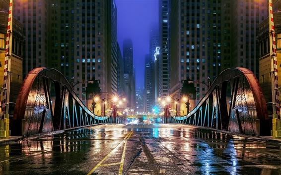 Wallpaper Chicago, Illinois, USA, night, city, bridge, road, skyscrapers