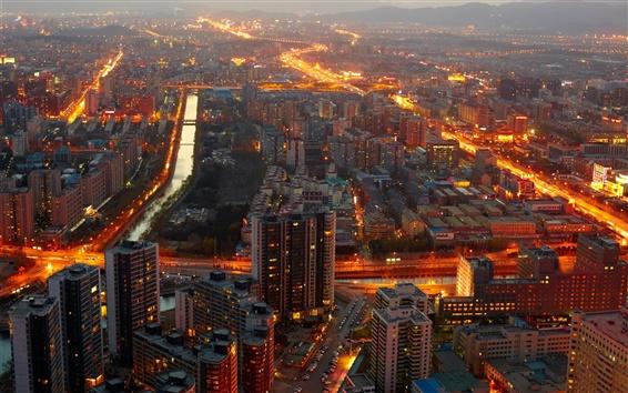 Fondos de pantalla China, Beijing, los edificios, las luces, la medianoche