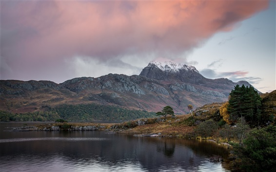 Wallpaper Clouds, mountain, lake, trees, autumn
