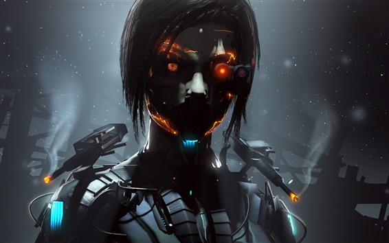 Wallpaper Cyborg, robot, girl, fantasy, creative pictures