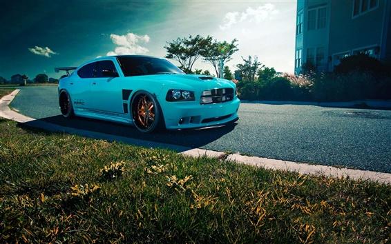 Wallpaper Dodge Charger SRT8 blue car