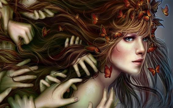 Wallpaper Fantasy blonde girl, hands, butterflies, hair