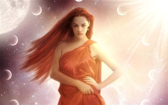Wallpaper Fantasy girl, face, eyes, red hair, posture, space, stars