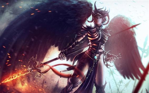 Обои Фэнтези воин девушка, броня, крылья, меч