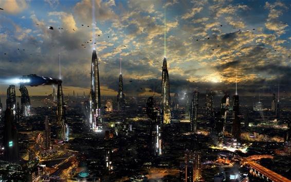 배경 화면 미래의 도시, 밤, 조명