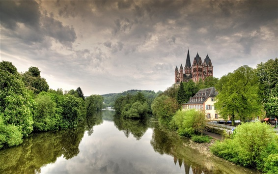 Wallpaper Germany, Limburg, cathedral, castle, Lena river, trees