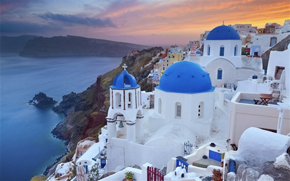 Wallpaper Greece, city, coast, houses, dusk