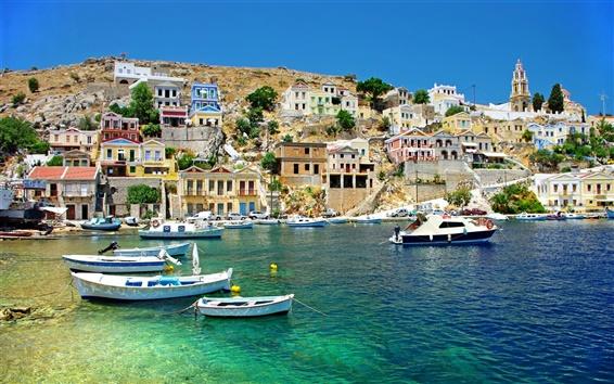 Fond d'écran Grèce, mer, côte, bateaux, maisons