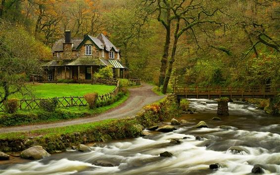 Fondos de pantalla Casa, río, bosque, parque, árboles, puente, primavera