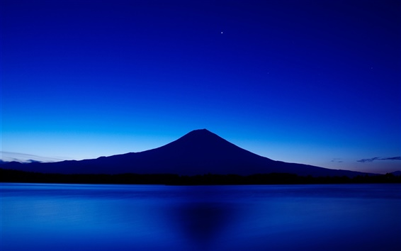 Wallpaper Japan, mount Fuji, blue sky, lake, night