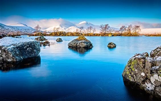Обои Озеро, лед, скалы, горы, снег