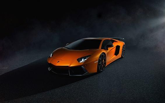 Fond d'écran Lamborghini Aventador LP700-4 d'orange supercar, nuit, lumière