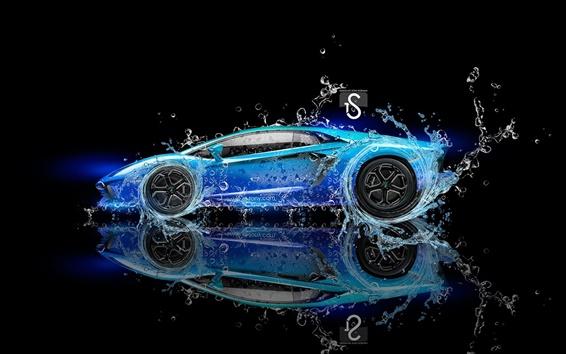 Fond d'écran Lamborghini Aventador supercar bleu, les éclaboussures d'eau, le design créatif