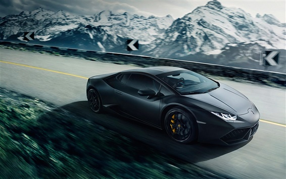 Wallpaper Lamborghini Huracan Lp640 4 Black Supercar Speed
